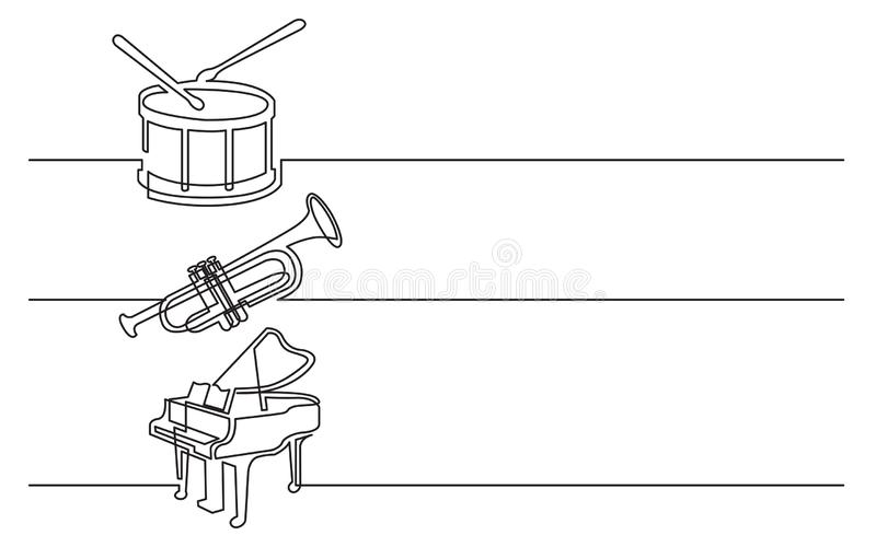 Banner design - continuous line drawing of business icons: drum with drumstick, trumpet and grand piano stock illustration