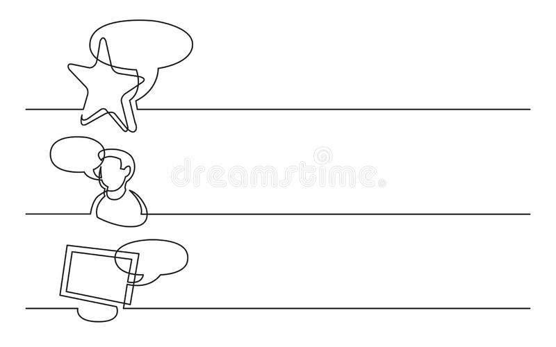 Banner design - continuous line drawing of business icons: favorite opinion, user recomendation, internet chat. Banner design - continuous line drawing of vector illustration