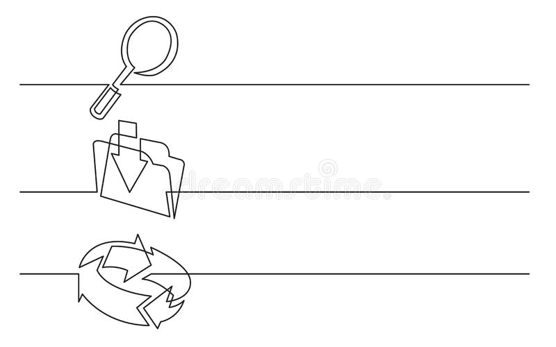 Banner design - continuous line drawing of business icons: looking glass, upload folder, connection arrows royalty free illustration