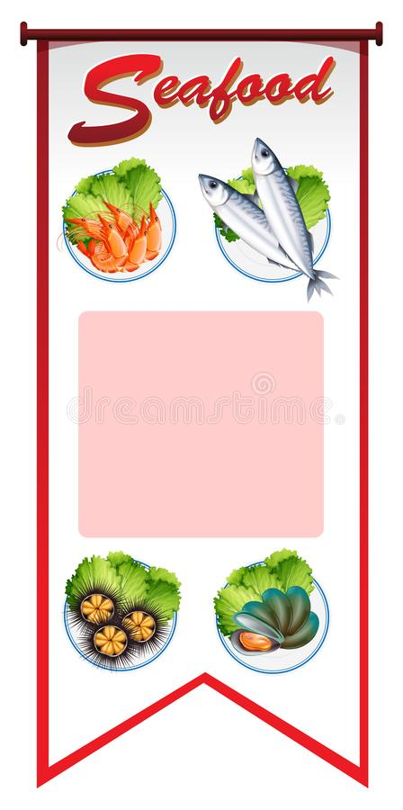 Banner design with different types of seafood vector illustration
