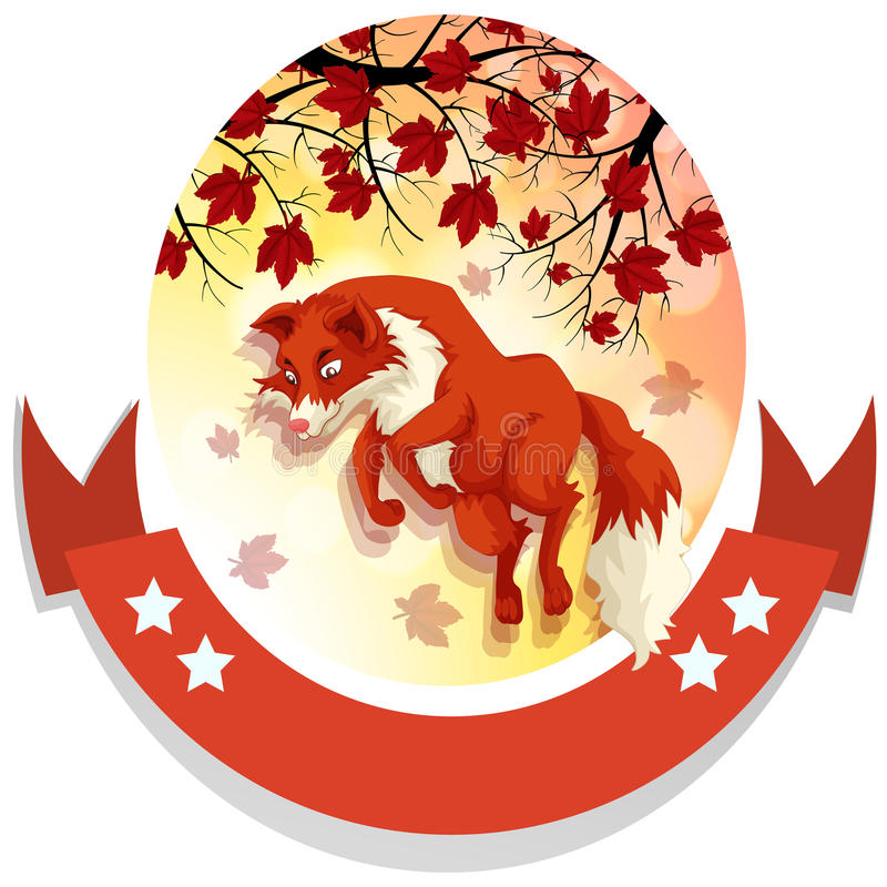 Banner design with fox jumping royalty free illustration