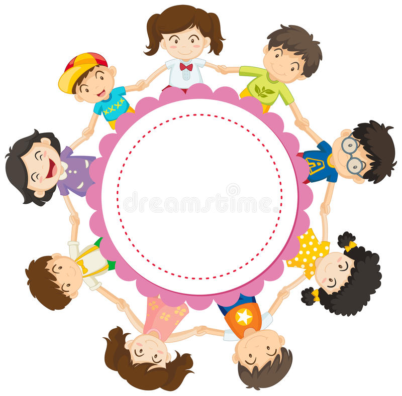 Banner design with kids holding hands in circle royalty free illustration