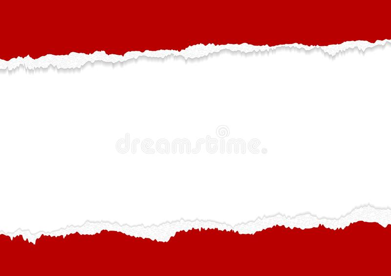 Banner design of red torn paper edges on white background with copy space vector illustration stock illustration