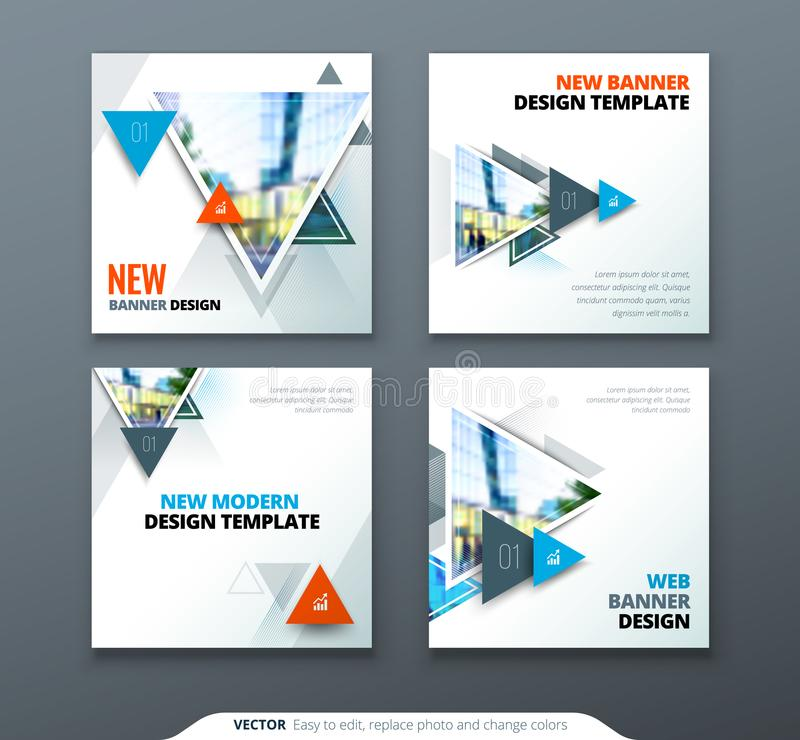 Banner design. Square abstract vector banner with triangle shapes for web template. stock illustration