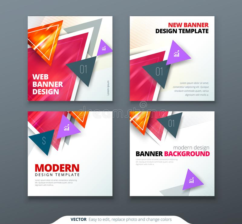 Banner design. Square abstract vector banner with triangle shapes for web template. vector illustration