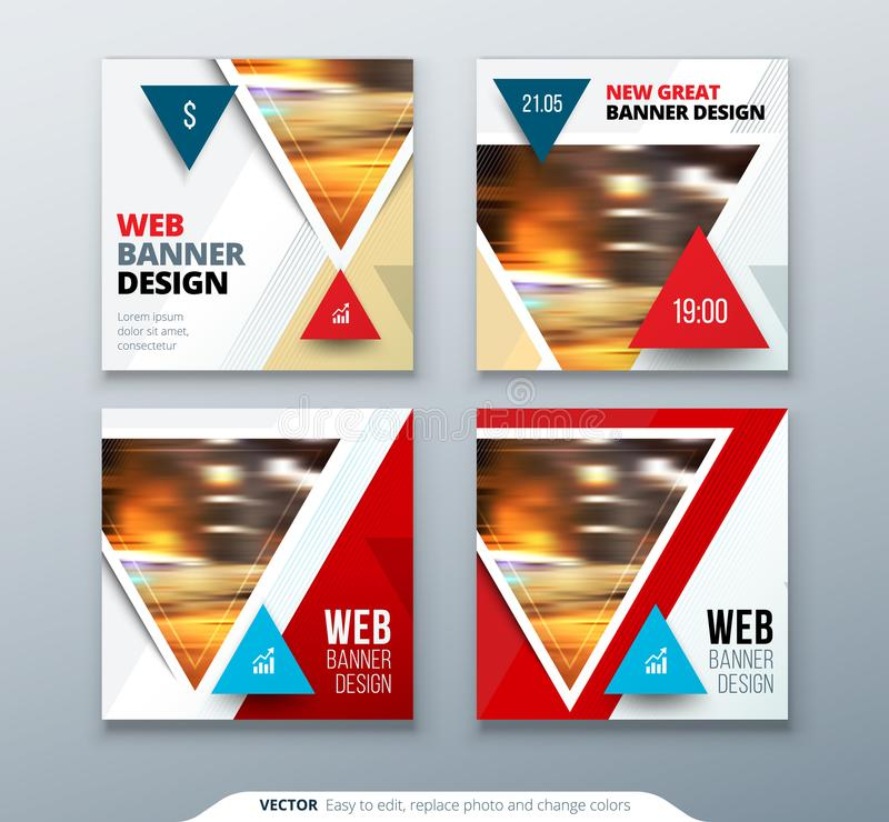 Banner design. Square abstract vector banner with triangle shapes for web template. royalty free illustration
