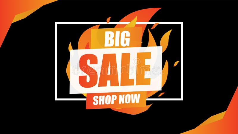 Big Sale fire burn template concept on black background with frame.End of season special offer banner shop now. royalty free stock photography