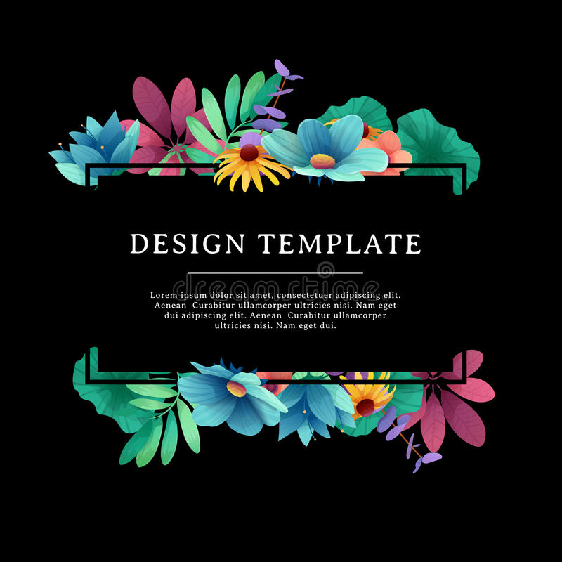 Banner design template with floral decoration. The black rectangular frame with the decor of flowers, leaves, twig royalty free illustration