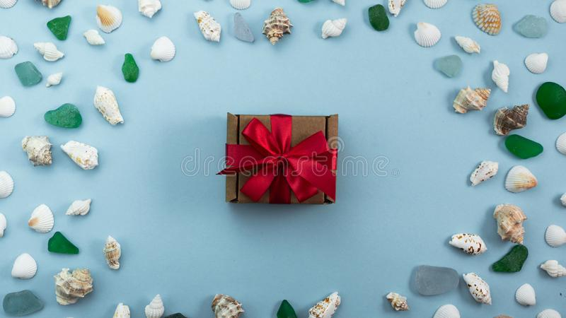 Banner Different sea shells on gray background Top view flat lay royalty free stock photos