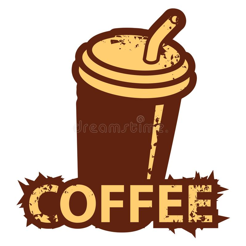 Banner with a disposable coffee cup with straw royalty free illustration
