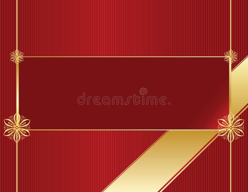 banner elegancka ramowej czerwonego złota royalty ilustracja