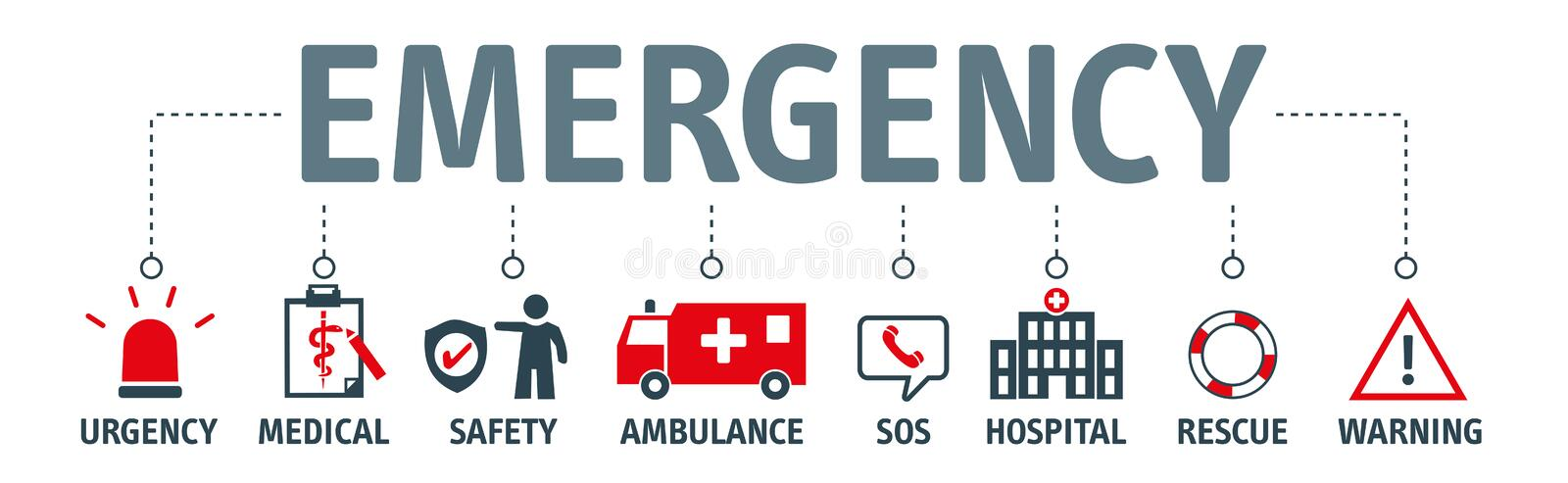 Banner emergency vector design concept. Emergency vector banner design concept. emergency kit for evacuation, vector objects set on white background stock illustration