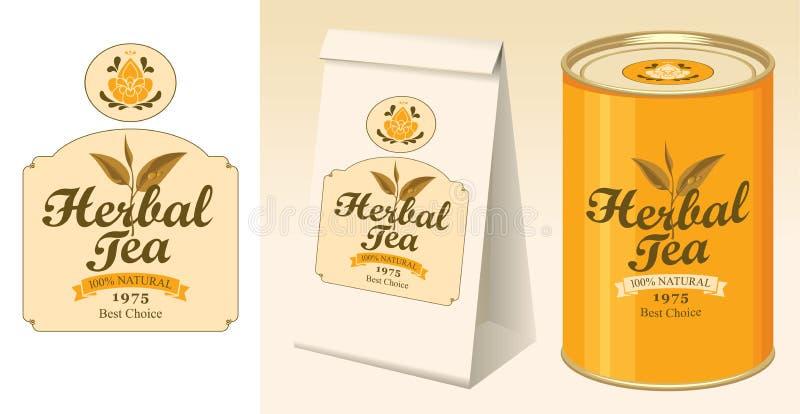 Banner, etiket, document pakket en tin zwarte thee stock illustratie