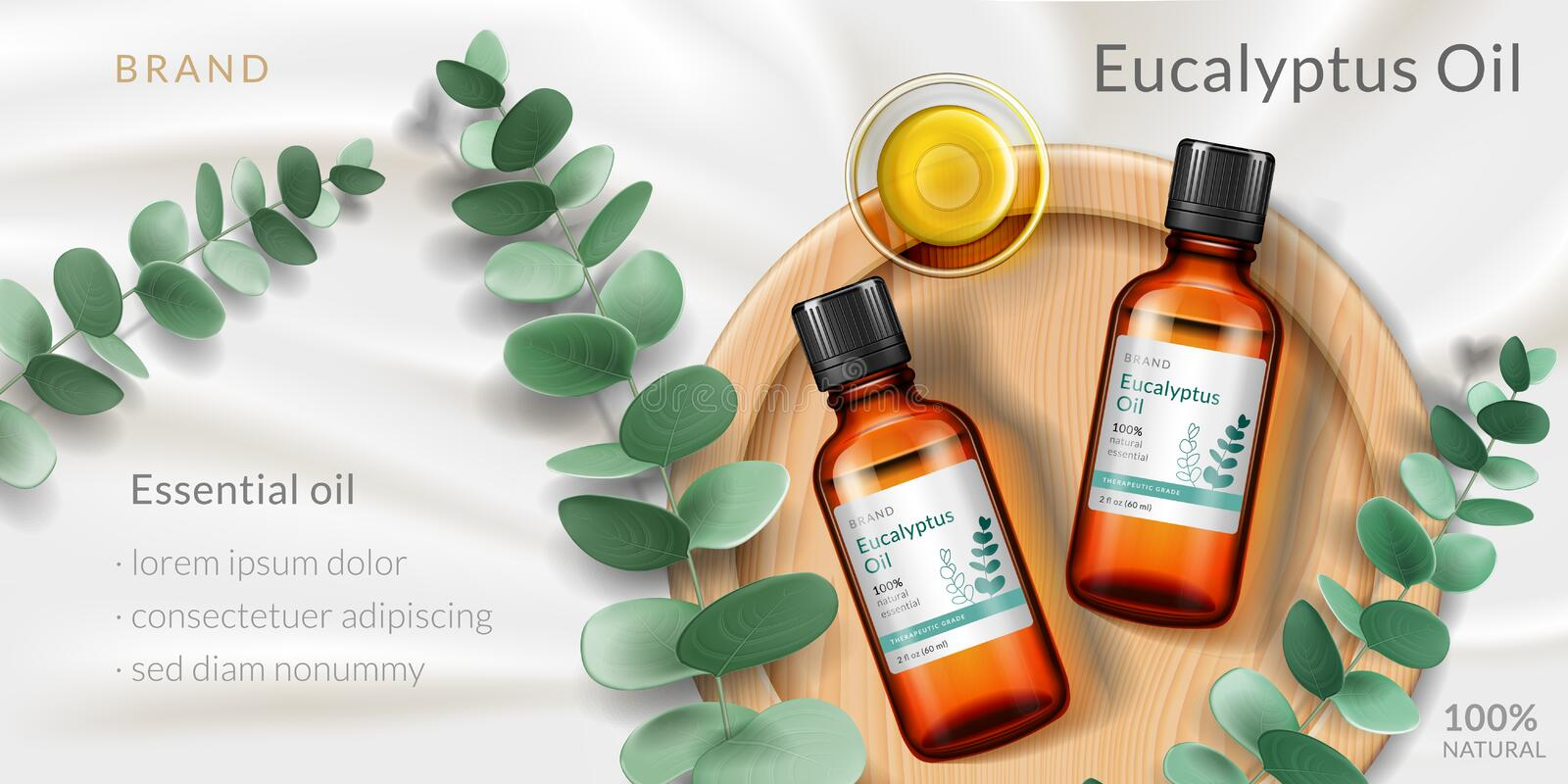 Advertising with 3d bottle of eucalyptus oil. Banner for eucalyptus oil. Advertising with realistic 3d glassware bottle and plant branch, plate for antiseptic or stock illustration