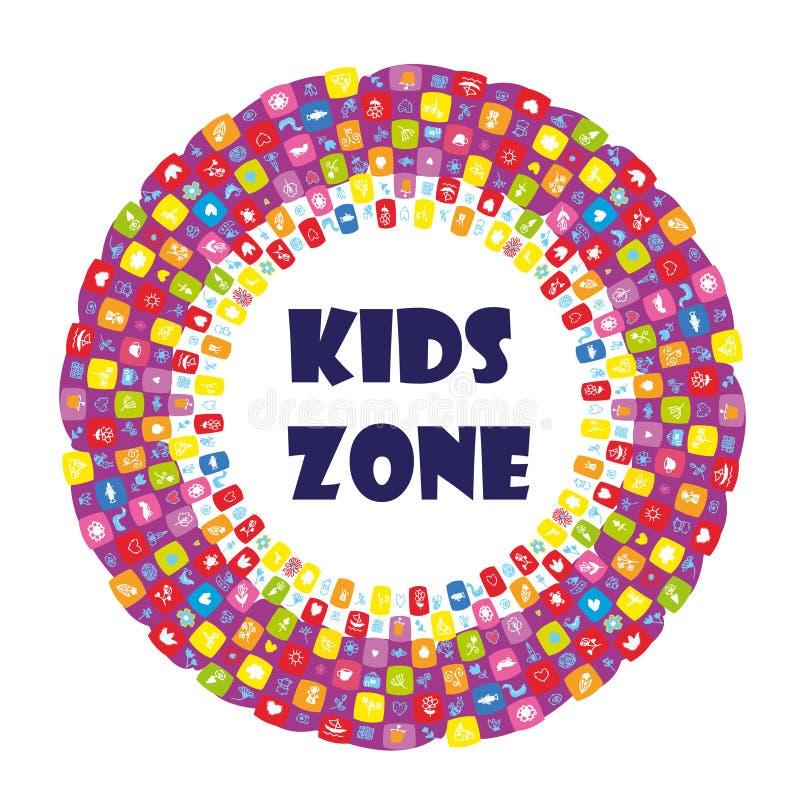 Banner für Kinderzone mit lustigem Muster Vector-Illustration vektor abbildung