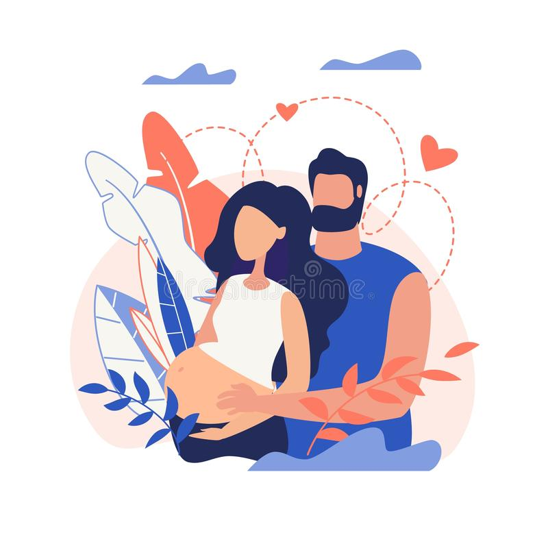 Banner Husband and Wife who Expecting Baby Cartoon. Banner Family Consisting Husband And Wife Surrounded Love Who Expecting Baby Displayed Cartoon, Flat, Vector stock illustration
