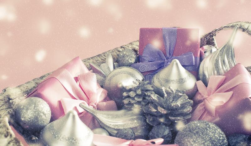 Banner Festive basket with gifts and toys for Christmas Decorative items boxes decoration for the holiday royalty free stock photos