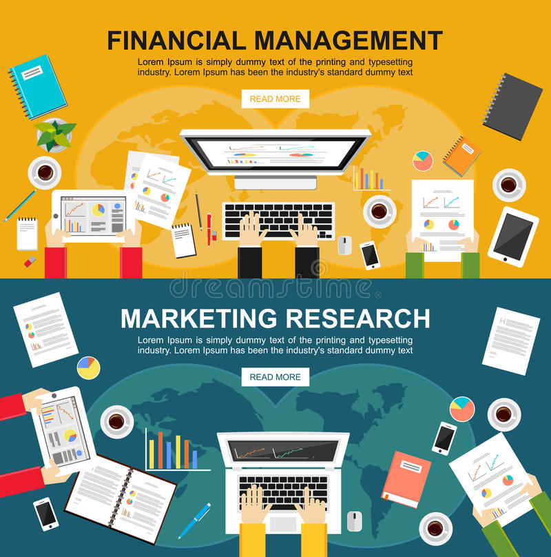 Banner for financial management and marketing research. Flat design illustration concepts for finance, business, marketing. royalty free illustration