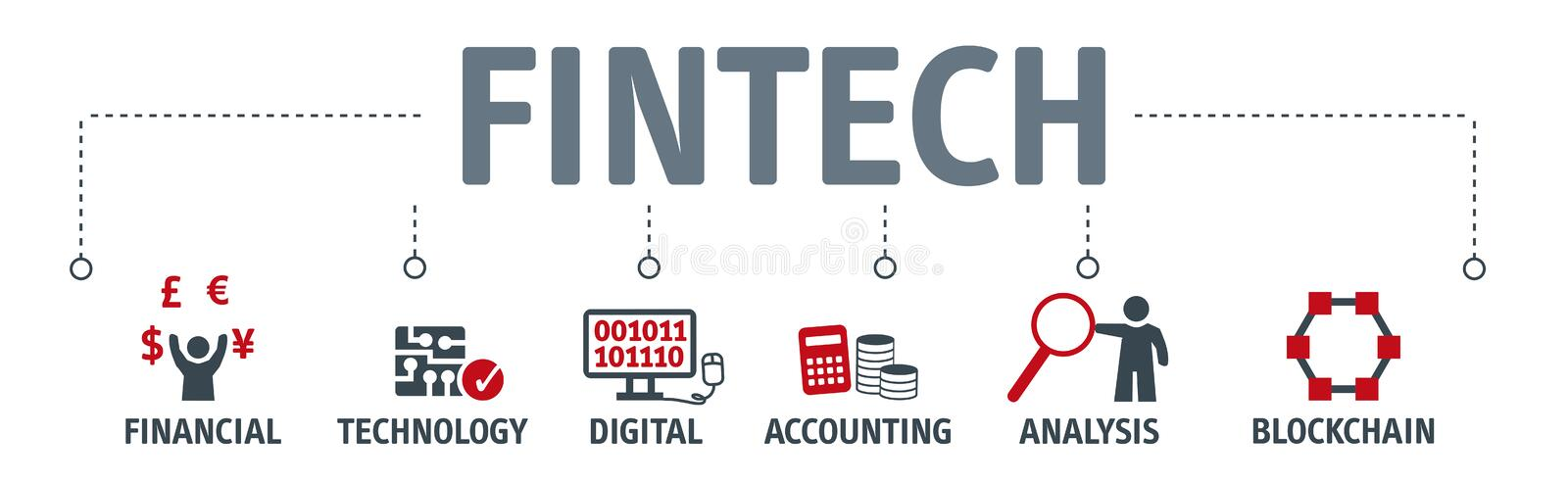 Banner Fintech Investment Financial Internet Technology Concept. Banner Fintech Internet Concept. text and Investment Financial Technology vector icons royalty free illustration