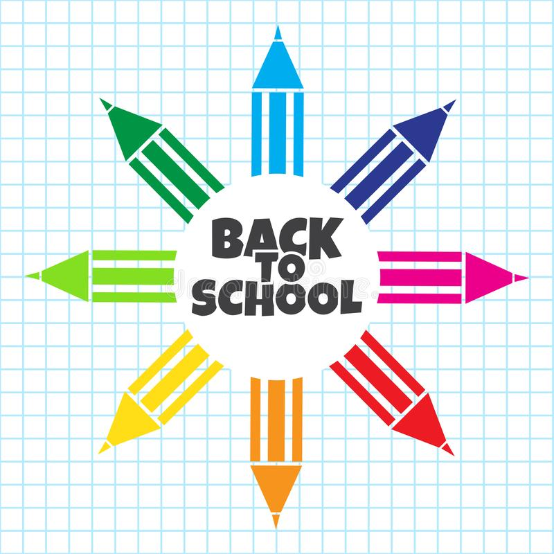 Banner for First day of school. Colorful pencil on checkered background. Vector stock illustration