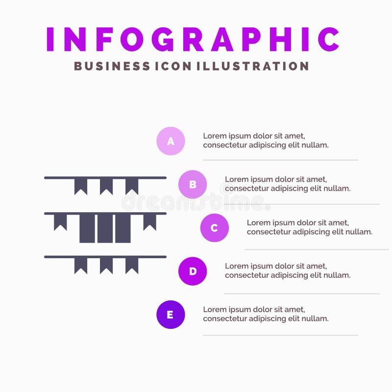 Banner, Flag, Garland, Ireland, Irish Solid Icon Infographics 5 Steps Presentation Background vector illustration