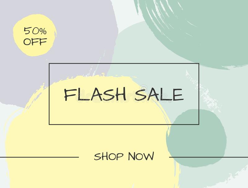 Banner Flash Sale. Drawn by hand with a rough brush. Sketch, watercolor, paint. Advertising vector illustration stock illustration