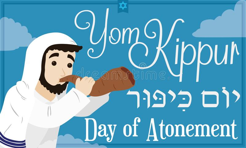 Bearded Jewish Man Blowing a Shofar Horn for Yom Kippur, Vector Illustration. Banner in flat colors with a cloudy sky view of a Day of Atonement or Yom Kippur royalty free illustration