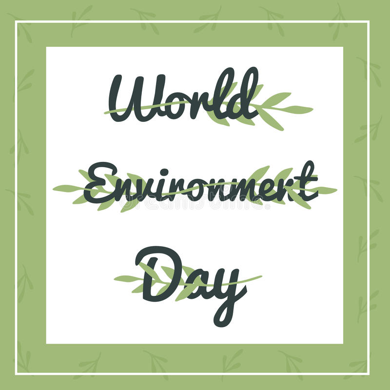 Banner with floral ornament and text for World Environment day royalty free illustration