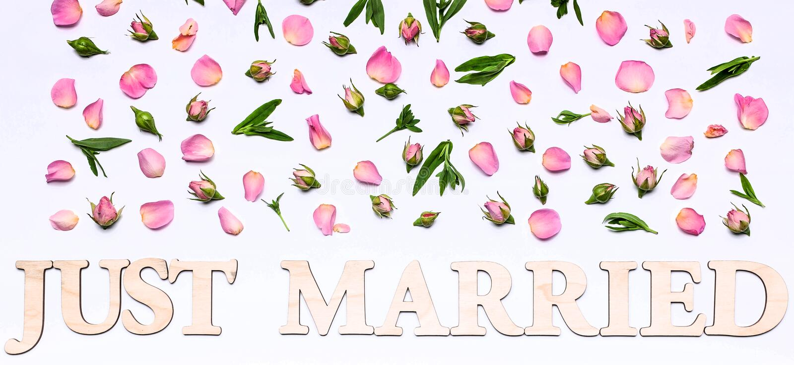 Banner. Floral wedding pattern on a white background. Petals and buds of roses. Blank greeting card or wedding invitation. Word:. Just married royalty free stock photo