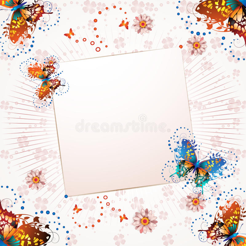 Banner with flowers stock illustration