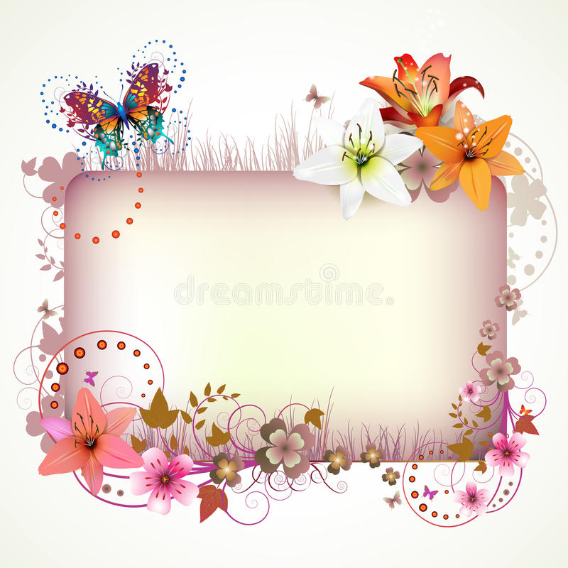 Banner with flowers vector illustration