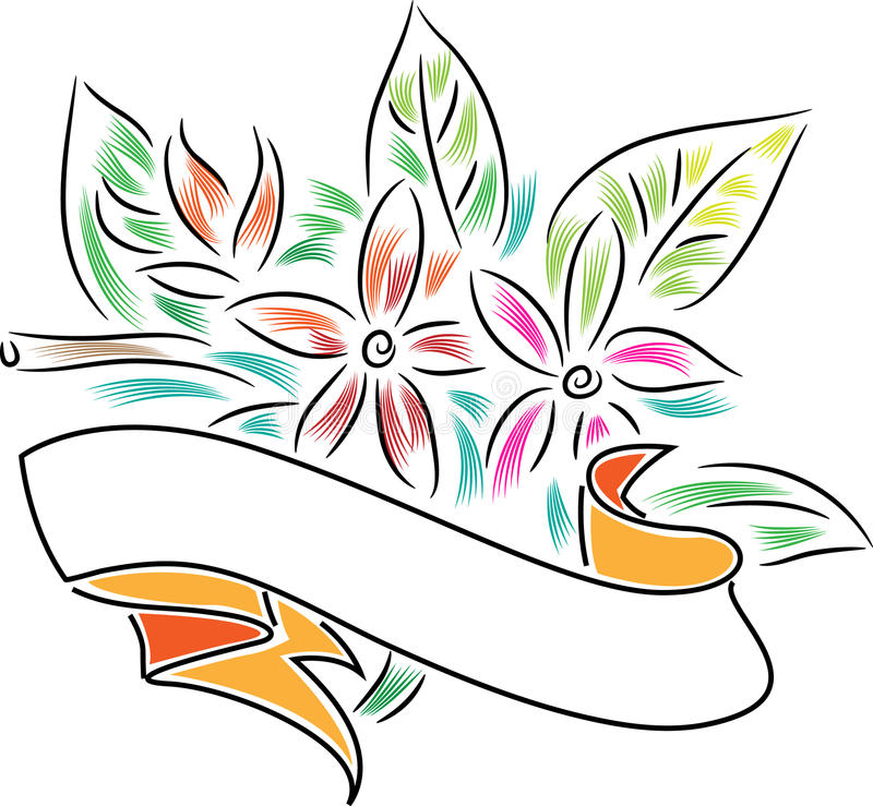 Banner with flowers royalty free illustration