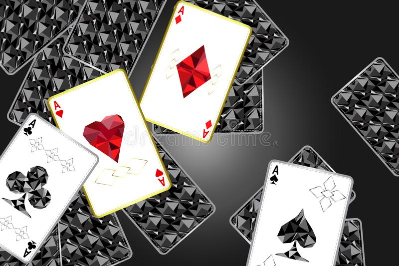 Banner with four aces and a specific outline and suits.In the background, a black card cover with a specific ornament.Vector illu. Ctration vector illustration