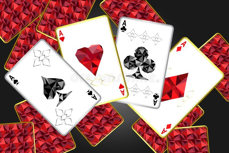 Banner with four aces and a specific outline and suits.In the background, a red card cover with a specific ornament. Vector illuctration vector illustration
