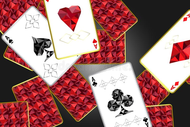 Banner with four aces and a specific outline and suits.In the background, a red card cover with a specific ornament.Vector illuctr. Ation royalty free illustration