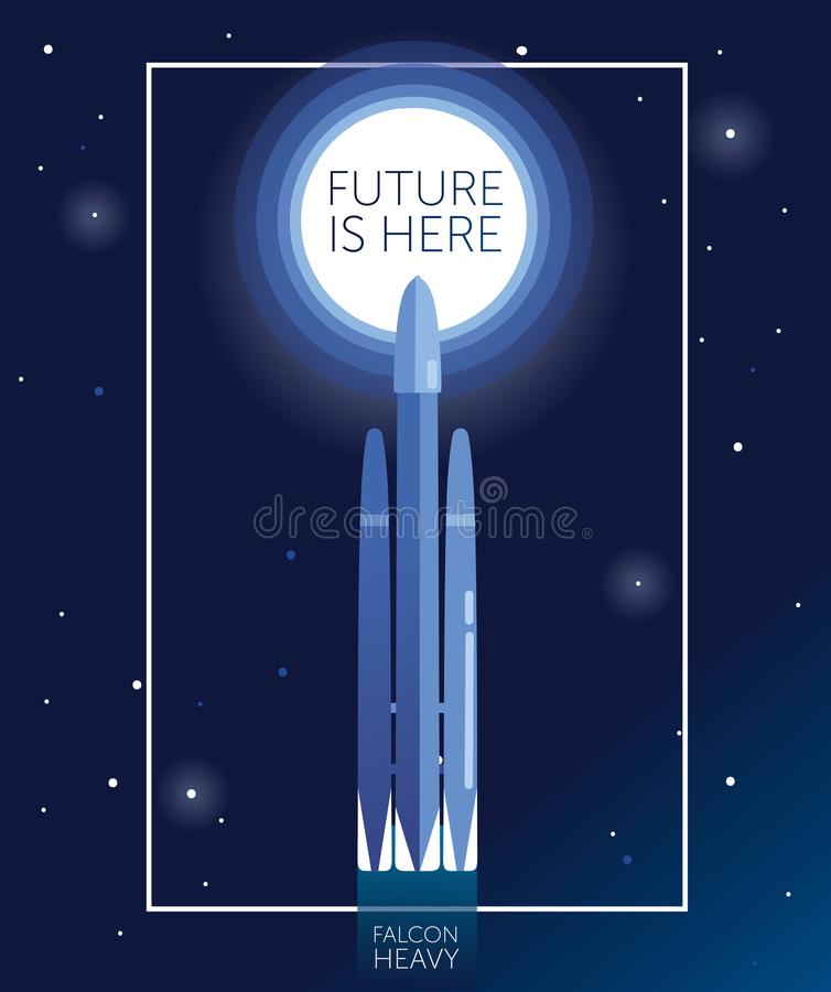 Banner `future is here` with space shuttle falcon heavy royalty free illustration