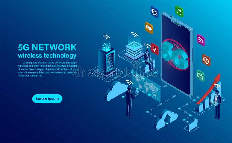 Banner 5G网络无线技术概念 库存例证
