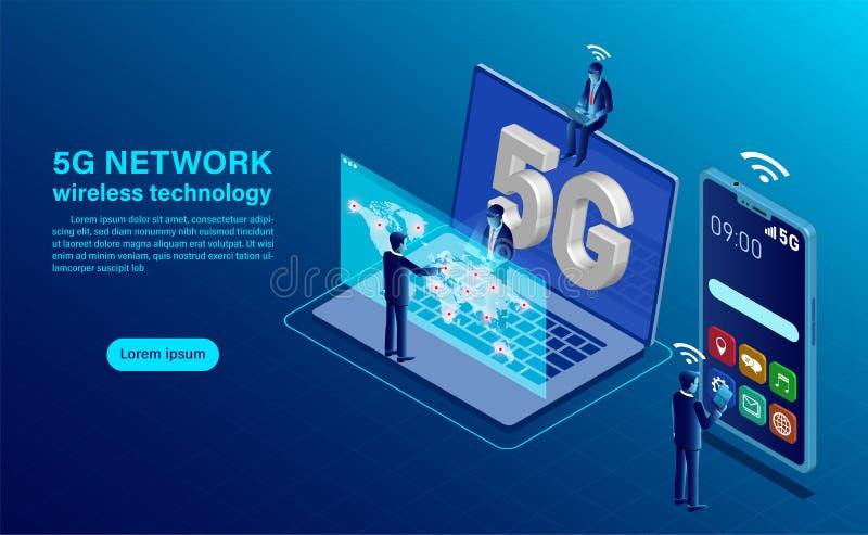 Banner 5G网络无线技术概念 向量例证