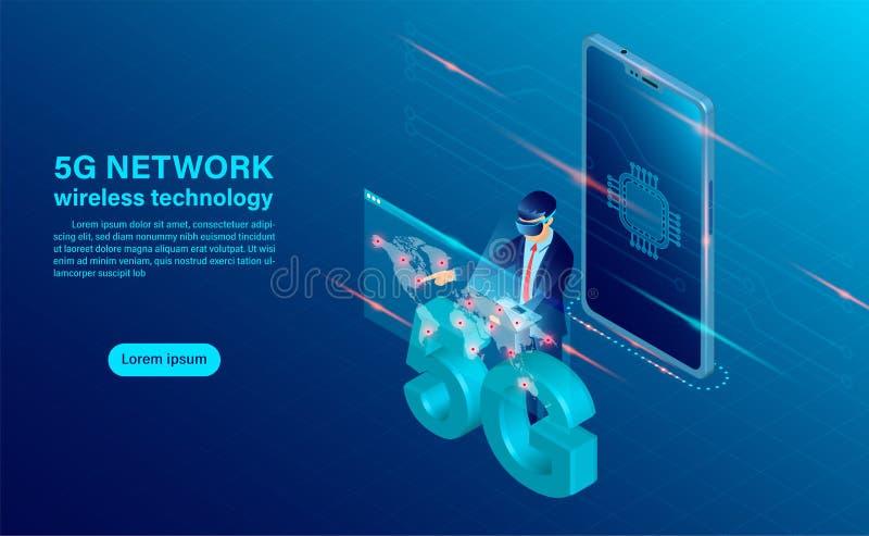 Banner 5G网络无线技术概念 带有cpu图标的手机 皇族释放例证