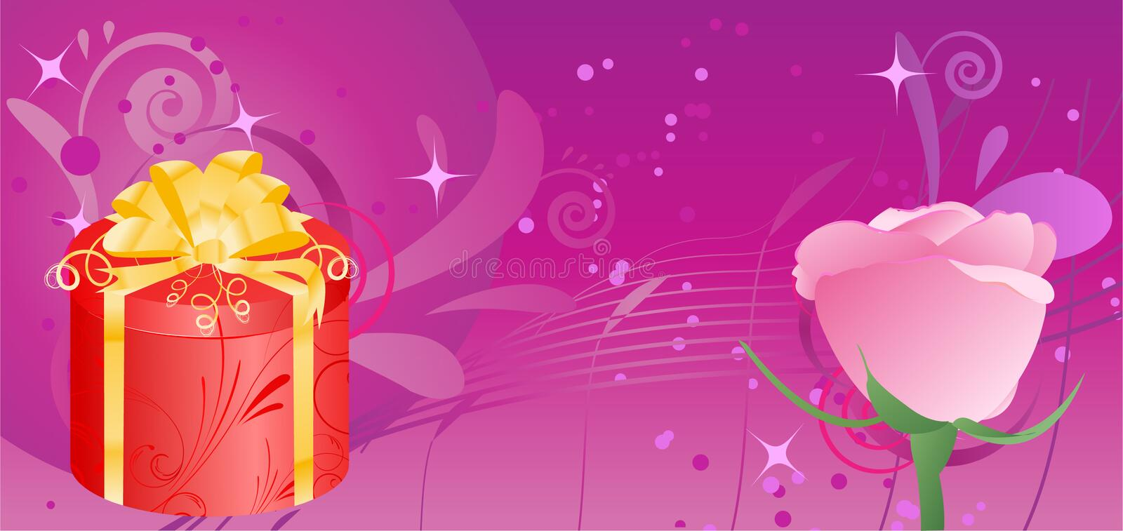 Banner with gift and rose. Birthday banner with gift box and rose on swirl abstract background royalty free illustration