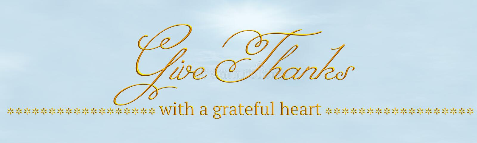 A banner with `Give Thanks` & `with a grateful heart` written in gold. A banner saying `Give Thanks` & `with a grateful heart`. The text is in 3d gold, and the stock illustration