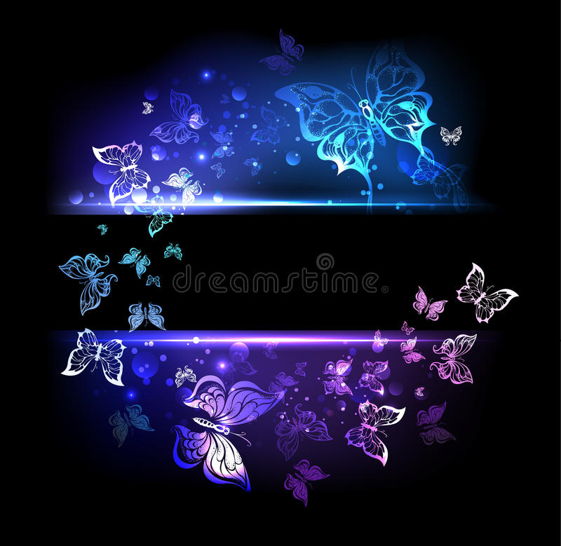 Banner with glowing butterflies vector illustration