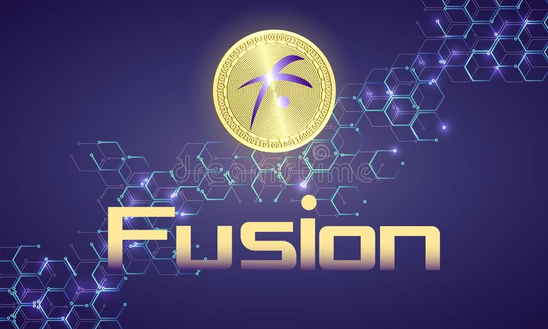 Banner with gold coin. Banner with realistic gold coin fusion and dark blue background . Stock illustration. Crypto currency golden coin symbol isolated on royalty free illustration
