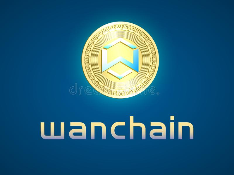 Banner with gold coin. Banner with realistic gold coin wanchain and dark blue background . Stock illustration. Crypto currency golden coin symbol isolated on royalty free illustration