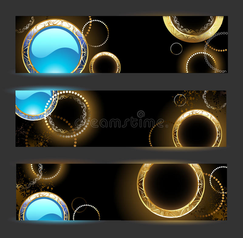 Banner with golden rings royalty free illustration