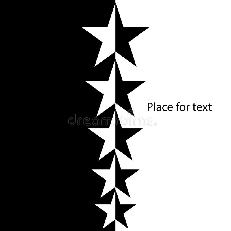 Banner in Gotische stijl, malplaatje Zwart-witte sterren Eenvoudig, modieus vectorontwerp stock illustratie