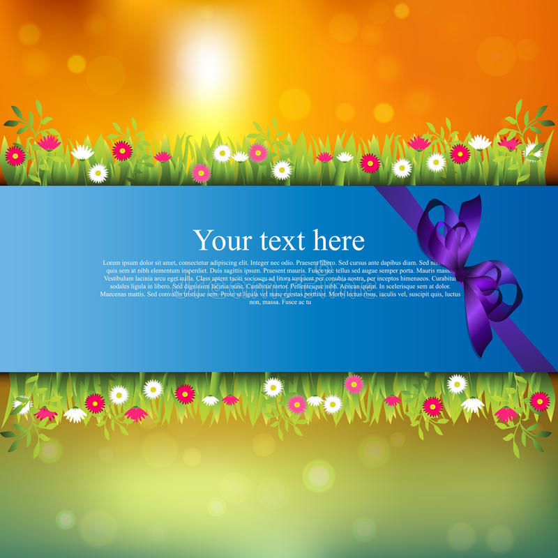 Banner with grass and flowers. Very high quality original trendy banner with grass, flowers, chamomile and realistic ribbon on sunset background vector illustration