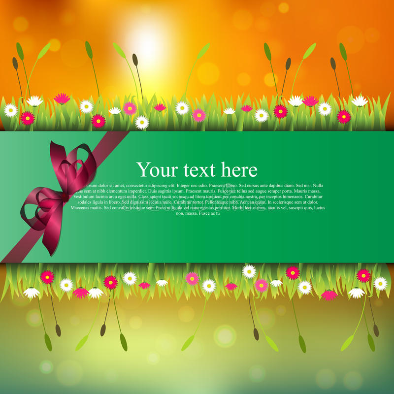 Banner with grass and flowers. Very high quality original trendy banner with grass, flowers, chamomile and realistic ribbon on sunset background stock illustration