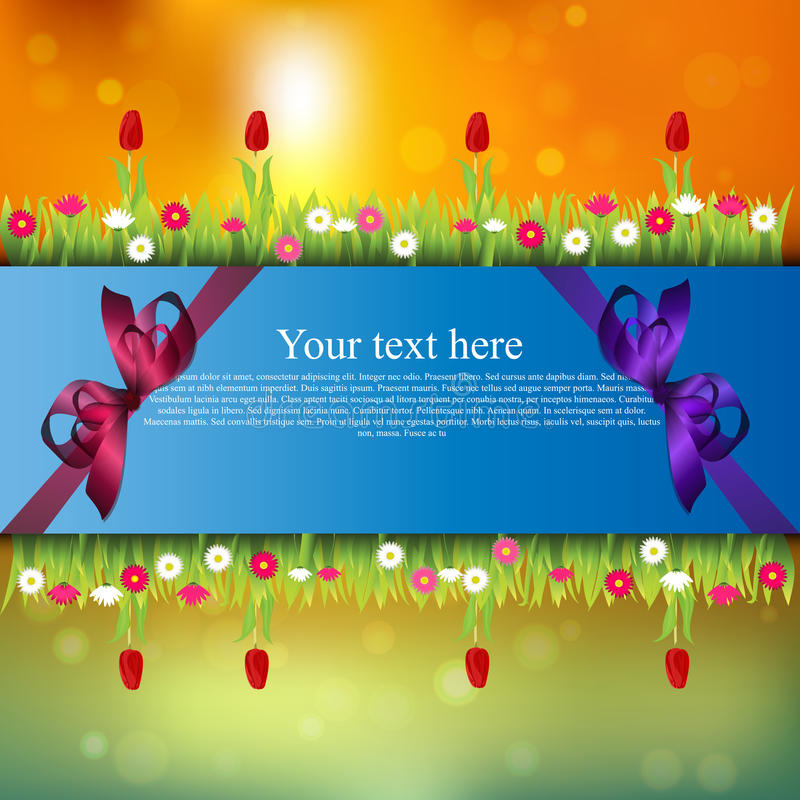 Banner with grass and flowers. Very high quality original trendy banner with grass, flowers, chamomile, Tulip and realistic ribbon on sunset background stock illustration