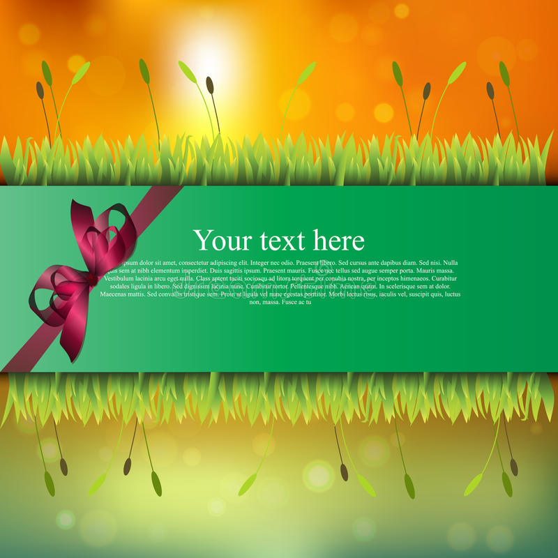 Banner with grass and flowers. Very high quality original trendy banner with grass, flowers and realistic ribbon on sunset background royalty free illustration